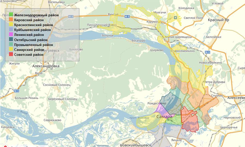 Карта районов Самары